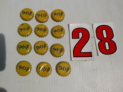Lot Of 12  Vintage Cork Backed GET UP Soda Bottle Caps , FREE SHIPPING