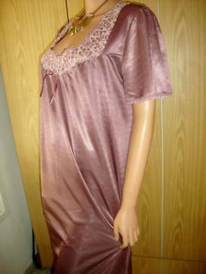 Vtg Rosewood Pink Shiny Silky & Deep Lace Cap Sleeve Nightgown L