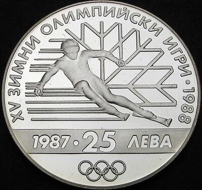 BULGARIA 25 Leva 1987 Proof - Silver - Winter Olympic Games - 1143 ¤