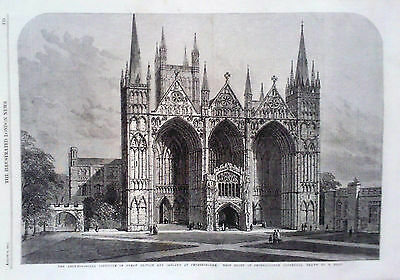 1861 Print West Front Of Peterborough Cathedral