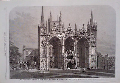 1861 PRINT WEST FRONT OF PETERBOROUGH CATHEDRAL by S READ