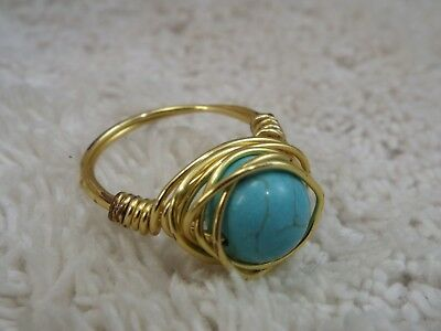 Goldtone Wire Wrapped Blue Howlite Stone Bead Ring ~ Size 7 (C60)