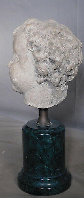 Weathered 18th c. Carved Stone Cherub Angel Head 1790 Classical Putto Sculpture