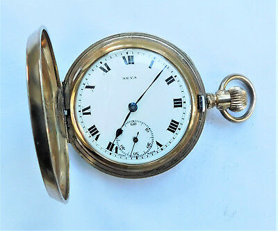 NO RESERVE c1910 Working Gold Plated Full Hunter Pocket Watch Vintage Antique