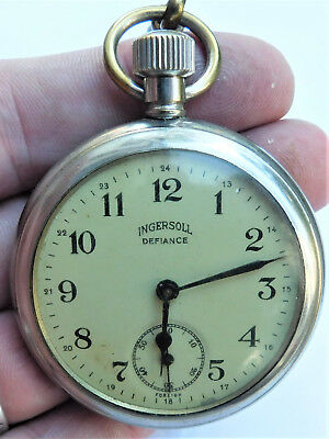 NO RESERVE Working 1920's Ingersoll Defiance Pocket Watch Vintage Antique