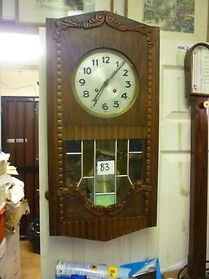 Original Art Deco Oak Striking Wall Clock With Coloured Glass Panels