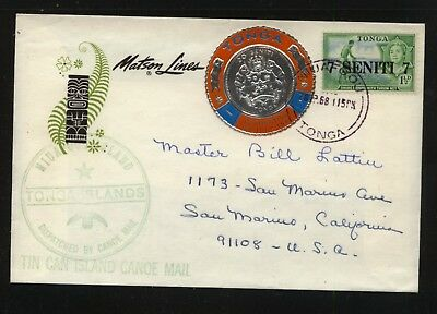 Tonga  tin can mail cover,  coin   stamp         MS0414