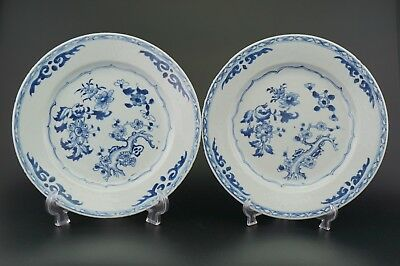 PAIR Antique Chinese Blue and White Porcelain Flower Plate Charger 18th C