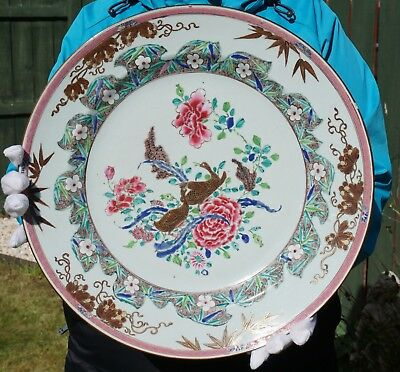 FINE! HUGE Antique Chinese Porcelain Famille Rose Duck Plate Charger 18th C 38cm