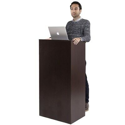 Stand-Up Wooden Lectern Floor Standing Podium with Shelf and Pen/Pencil Tray US