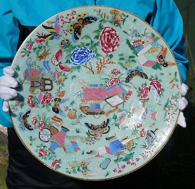 HUGE! FINE Antique 19th C Chinese Canton Famille Rose Celadon Moulded Plate 37cm