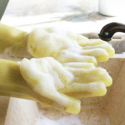 Silicone kitchen Cleaning Gloves Dusting Dish Washing Pet Grooming Hair