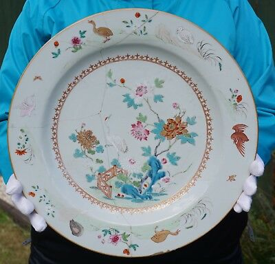 FINE! Large Antique Chinese Porcelain Famille Rose Crane Plate Charger 18th C #B