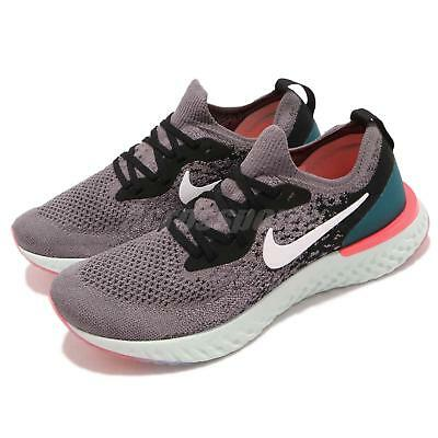 a3d64fba3093 Nike Wmns Epic React Flyknit Grey Black Green Pink Women Running Shoe AQ0070 -010