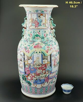 SUPERB HUGE! Antique Chinese Porcelain Famille Rose Porcelain Figure Vase 19th C