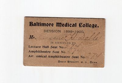 1899 Baltimore Medical College Lecture Ticket