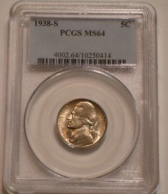 1938 S Jefferson Nickel PCGS MS 64 sparkling Borderline GEM BU
