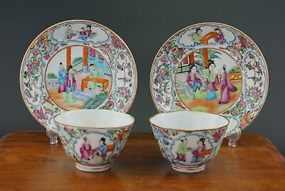 Two Set Antique Chinese Porcelain Canton Famille Rose Mandarin Cup Saucer 19thC