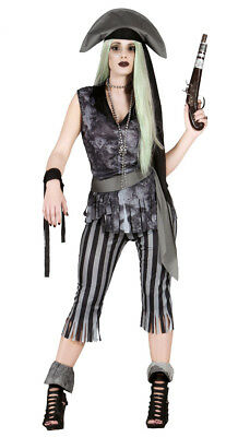Ladies Zombie Pirate Costume Halloween Ghost Fancy Dress Woman Outfit NEW 6PC