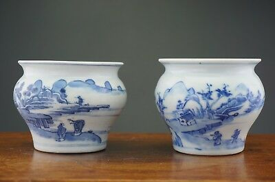 FINE! PAIR Antique Chinese Blue and White Vase Jar KANGXI 18th C Museum Number
