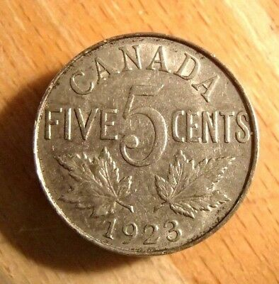 1923 Canada 5 Cent Nickel Coin Nice Circulated Coin #1