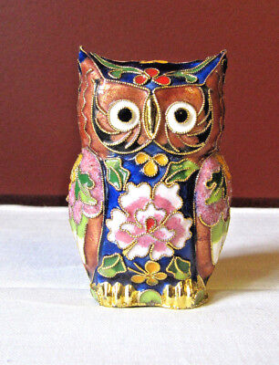 Chinese Cloisonne Hand Crafted Cloisonne Owl Figurine Bird