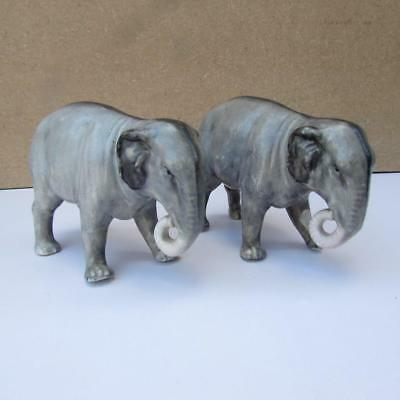 Fine Rare Pair of Antique 19thC Staffordshire ? Porcelain Elphants