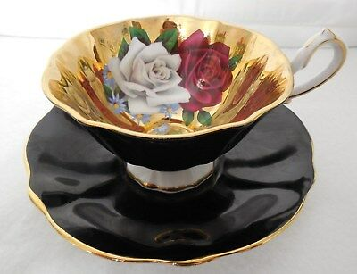 Queen Anne Gold Red White Rose Interior Black Outside Cup Saucer England