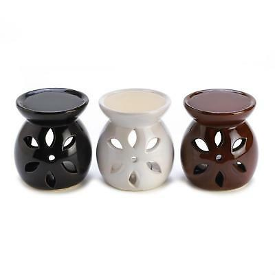 Set of 3 Ceramic Mini Tealight Oil Warmers - Black, White, Brown Glazes
