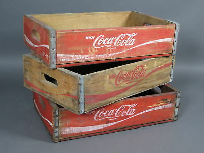 Lot of 3 Vintage Wooden Coca-Cola Coke Crate Boxes USA Made