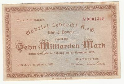 096 Ulm, G.Lebrecht AG, 10Md.Mark, 25.10.23,