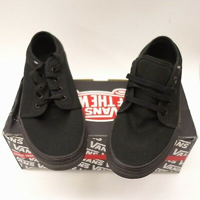 New Vans Mens Vulcanized Black Lace Up Canvas Sneaker Shoes Left 7 Right 7.5