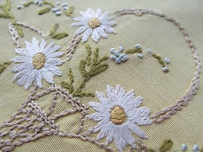 Vintage Hand Embroidered Table Centre Piece-BEAUTIFUL FLORAL BASKETS