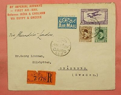 1929 Egypt #c1 On First Flight Imperial Airways Cairo Registered To Sweden