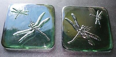 Vintage pair of green glass transparent square dragonfly tiles