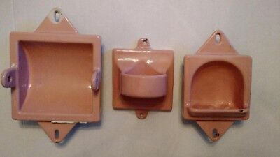 Cast Iron w/Ceramic Coating Recessed Bath Dish Set of 3, Vintage *Coral Pink *