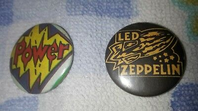 2 alte Pins DACHBODENFUND original 70er Jahre Led Zeppelin & Power