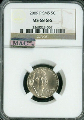 2009-P Jefferson Nickel Ngc Mac Ms68 Fs Pq 2Nd Finest Rare Spotless*