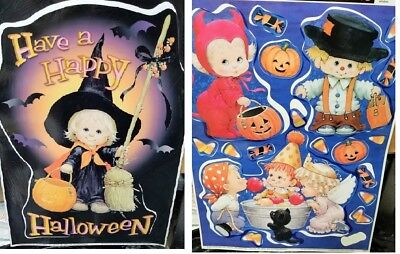 HALLOWEEN PRECIOUS MOMENTS Window Decals Stickers Vinyl Wall Decoration 2 Sheets