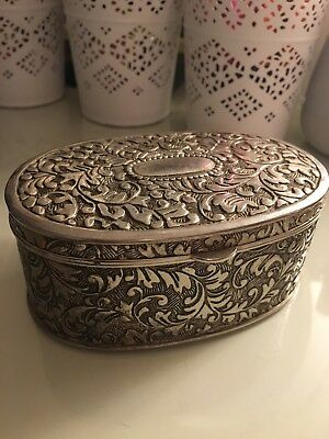⭐️ Antique Silver Plated Trinket Box With Hinged Lid Filigree Ornament 4.5cm ⭐️