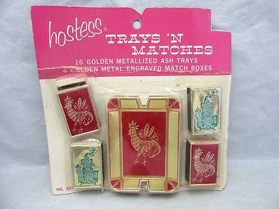 Vintage Hostess Trays 'N Matches. Party ashtrays, matchboxes. Rooster, Stove