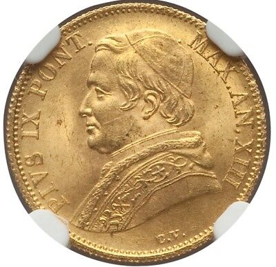 Italy Papal States  1859-R  1 Scudo Gold Coin Uncirculated, Certified Ngc Ms-64+