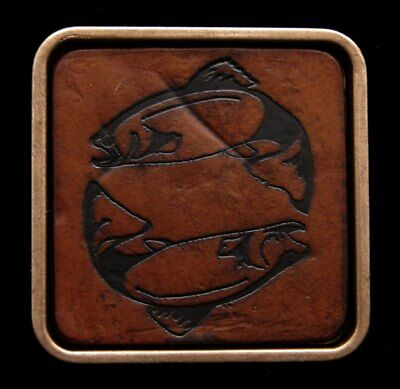 HL22112 VINTAGE 1970s ***TWO FISHES*** BRASS & LEATHER BUCKLE