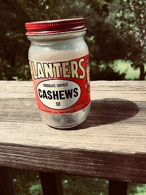 Vintage Planters Chocolate Covered Cashew jar with paper label and lid 4 1/4oz