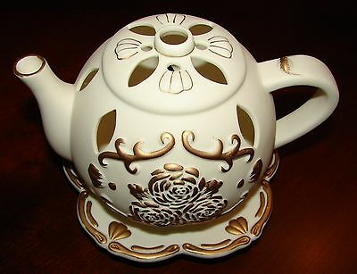 PartyLite Teapot Bisque Porcelain with Gold Gilded Roses Candle Holder