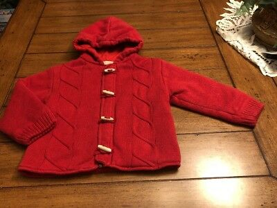 Boutique Collection 3t Red Cotton Cable Knit Hounds Tooth Button Cardigan Jacket