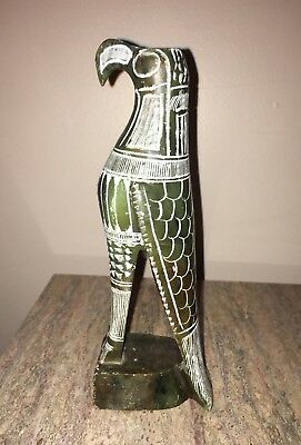 """Falcon Hand Carved Green Soapstone Egyptian Statue Sculpture Egypt 7 1/2"""""""