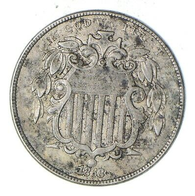 First US Nickel - 1868 Shield Nickel - US Type Coin -Rare in High Grade *833