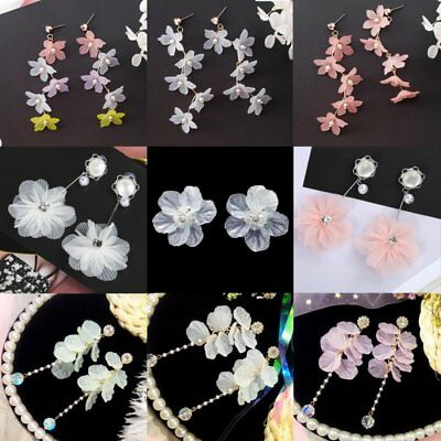 Fashion Crystal Pearl Women Flower Drop Dangle Stud Earrings Ear Stud Jewelry