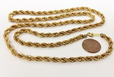 """VINTAGE SOLID BRASS ROPE 5mm. THICK CHAIN 30"""" NECKLACE R549"""